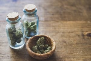 Cannabis in jars and bowl